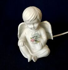 """Touch Of Rose By Roman Figurine Boy Angel Night Light 4 3/4"""" Tall Vintage Used"""