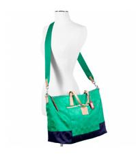 Green Navy Blue Coach Weekend Weekender Duffel Travel Luggage Tote Bag XL 24866