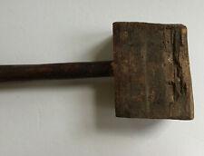 Vintage Primitive Wood Mallet Maul Hammer Crude Farmhouse Antique Workshop