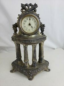 Antique Ornate Silver Plate Waterbury Mantle Clock Pat. ca, 1890 rare