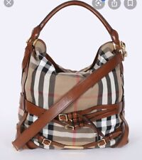 Burberry Gosford Bridle House Check Canvas Saddle Tanned Leather Hobo Tote NWT