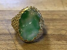 Floral Carved Green Jade Jadeite Ring 14k Yellow Gold Size 7