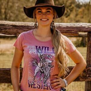 Wild & Western Ladies Scoop Dusty Pink Tee