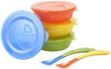4 bébé / bambin sevrage alimentation / food / travel bols avec couvercles et 2 cuillères pointe douce