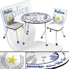 Kindertisch & 2 x Kinderstuhl POLIZEI Kindersitzgruppe Tisch Hocker Stühle weiss