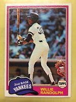 1981 Topps Willie Randolph Baseball Card #60 Yankees High Grade