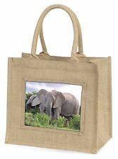 African Elephants Large Natural Jute Shopping Bag Christmas Gift Idea, AE-11BLN