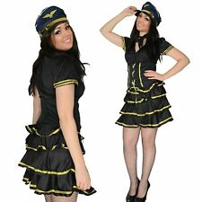 Ladies fancy dress sexy party airline pilot air stewardess girl Size 10 12