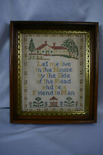 Antique Walnut Wooden Frame with Antique Cross Stitch Sampler
