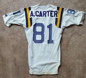 Vintage Minnesota Vikings #81 Anthony Carter Game USED Football Jersey Michigan