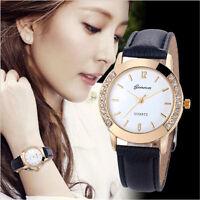 New Women's Geneva Fashion Leather Analog Stainless Steel Quartz Wrist Watch UK
