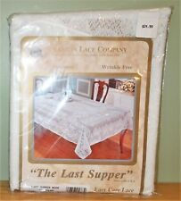 "Scranton Lace Co. Tablecloth~Last Supper~Easter~70"" Round~White"