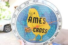 "Vintage 1940's Ames In-Cross Chicken Farm 12"" Bubble Glass Pam Thermometer Sign"