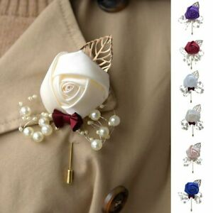 Pearls Artificial Flower Bridal Groom Boutonniere Bouquet Brooch Pin Corsage