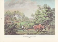 "1974 Vintage Currier & Ives FARMING ""PLOWING WITH TEAM OF OXEN"" COLOR Lithograph"