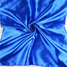 Women Simple Solid Head Neck Hair Tie Square Silk Scarf Wrap Kerchief