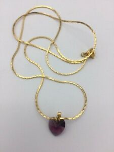 """NEW Princess House Purple Crystal Heart Booking Gift Necklace 22"""" Chain"""