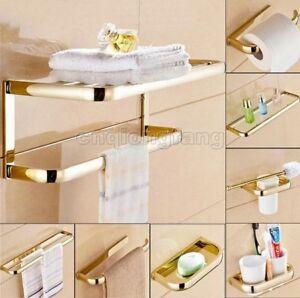 Gold Brass Bathroom Hardware Accessory Set Towel Bar Toilet Paper Holder Cxz014
