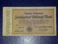GERMANY - 200 MILLION MARK RAIL BANKNOTE 1923-INFLATION - VERY FINE