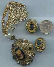 Vintage Cameo Filigree Necklace Earrings Clip on Glass Lot N211