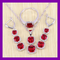 Beautiful RED Garnet  925 Sterling Silver Set Necklace Pendant Earrings Ring