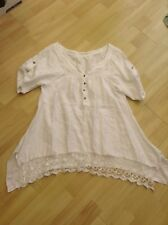 Womens White cotton short sleeve top, size 20 inches pit to pit