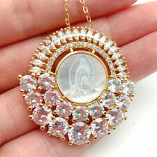 white shell cameo Virgin Mary Clear CZ Micro Pave Pendant chain necklace