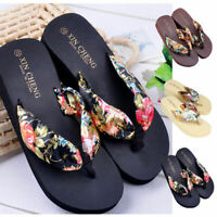 New Bohemia Floral Summer Beach Sandal Wedge Platform Thongs Slippers Flip Flops