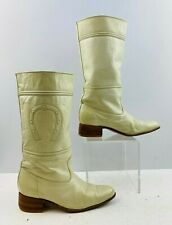 Ladies Cream Leather Round Toe Western Cowgirl Boots Size: 5