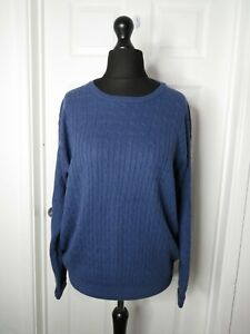 Woolovers Blue Cable Knit Jumper Womens Size M Cotton & Cashmere Ribbed