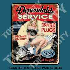DEPENDABLE SPARK PLUG PIN UP GIRL DECAL STICKER RAT ROD MANCAVE TOOLBOX STICKERS