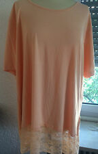 Rita Pfeffinger Long-Shirt Tunika Spitzen-Besatz Apricot 50 52 54 ungetragen