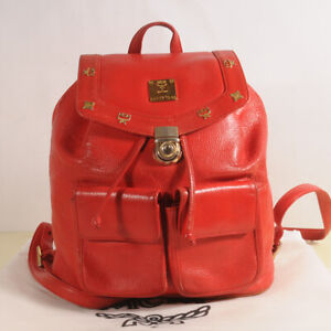 MCM Red Leather Backpack Authenticity + Dust Bag