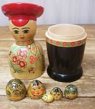Russian Boy Man Nesting Doll USSR Russia Wood Wooden Vintage Asian Chinese Japan