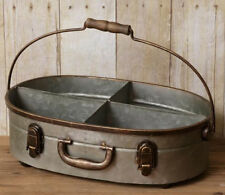 FARMHOUSE Galvanized Metal Divided Bin Caddy Carrier w Handle Suitcase Inspired