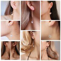 Women Simple Line Drop Dangle Long Chain Threader Thread Hook Earrings Jewelry