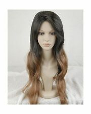 Superwigy Long Two Tone Black and Brown Ombre Wigs Celebrity Wig for Women - NEW