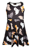 Kids / Girls Cute Dogs Puppies Animal Print Flare Skater Dress Size 5 -10 Years