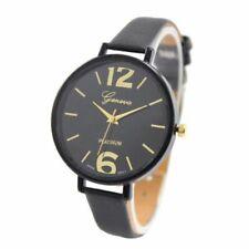 Women's Watch Geneva Black Leather Strap Wrist Watch Analog Quartz UK Gift