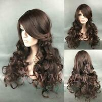 Curly wig inclined bang big wave mixing realistic wig brown female new party