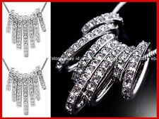 18K WHITE GOLD FILLED SEVEN LUCKY RING Simulated Diamond SOLID PENDANT XMAS GIFT