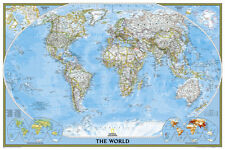 National Geographic - World Classic, poster size Map Laminated Poster, 36x24