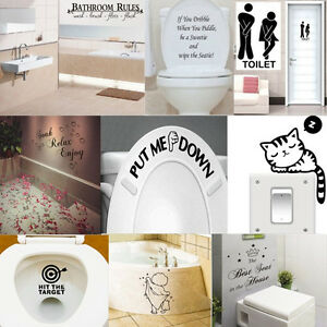 Funny Bathroom DIY Vinyl Removable Wall Sticker Mural Home Decals Decor
