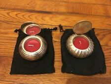 SILVER VOTIVE CANDLE HOLDERS WITH LID LOT OF 2 [NEW]