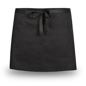 Half Size Waist Waiter Waitress Apron Solid Colour Apron Bar Cafe Pub 2 Pockets