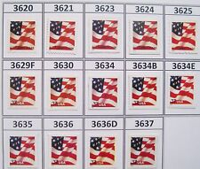 2002 US Flag Series MNH Set 14 Sheet & Booklet Stamps Scott's 3621 to 3637