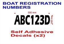 BOAT JETSKI 150mm  Registration Number Stickers Decals Marine Quality SET of 2