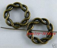 40 Tibetan Silver/Bronze Color Twisted Circle Connectors 15x3mm zn3138