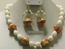 Brass Tibetan Beads and White Riverstone Beads Ethnic Boho Necklace & Earrings