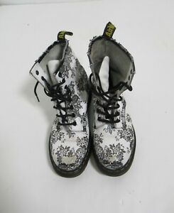 """Dr Martens """"Flocked Collection Boot Silver White Size 8 US / 6 UK / 39 EU"""